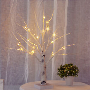 18 LED Christmas Birch Tree Light Up White Twig Tree Easter Home Decorations