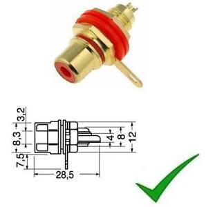 Connettore presa RCA femmina da pannello dorato rossa professionale