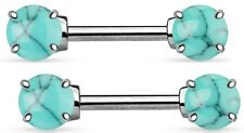 Body Jewelry Pair 14 gauge [Turquoise] Body Accentz® Nipple Ring Bars Star