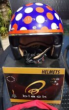 """""""Black"""" brand Limited Edition polka dot open face motorcycle/ scooter helmet XXL"""