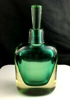 """🟢 Murano MCM Art Glass Green Yellow SOMMERSO 8 1/2"""" Decanter Cenedese or Seguso"""