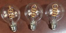 Lot of 3 LED G25 Globe Spiral Filament dimmable lightbulb 4 watt 230 lumens NEW
