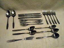 19 pcs VTG Stainless Flatware Knife Fork Spoon Customcraft Taiwan CUS10 Floral