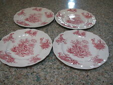 "Johnson Bros. red tsfrware Pastorale Toile De Jouy 4-6 3/8""D B&B plates-England"