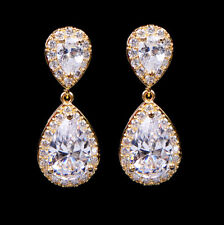 Fashion 18K Gold Filled Hoop Drop Dangle White Gems Earrings Wedding Jewelry