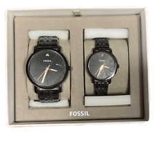 Fossil BQ2399 His and Her Lux  Three-Hand Stainless Steel Watch Set Black New