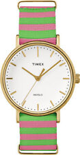 Timex TW2P91800,  Fairfield Weekender Striped Fabric Watch, Indiglo, TW2P918009J