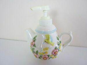 Vtg JKL Porcelain Flower Tea Pot Soap Dispenser Birds Garden Flowers Mini Size