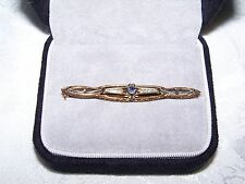 Antique Ladies 14K Collar Pin or Brooch Designed with a 0.12pt. Round Sapphire