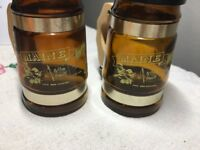 Vintage Amber Glass Mug Style Salt and Pepper Shakers MAINE large souvenir