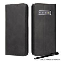 Etui portefeuille noir pour Samsung S10 S10e S10Plus Housse protection