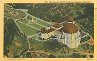 Linen Postcard CA K487 Birds Eye View Los Angeles Planetarium Griffith Park 1954