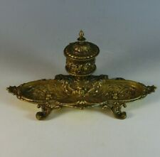 Vintage Bronze Inkwell with Pen Tray and Insert