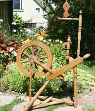 Antique primitive wooden spinning wheel, 19th century, brown painted
