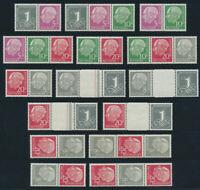 BUND 1960, Heuss und Ziffer, liegendes Wz. Y II, komplett postfrisch, Mi. 735,-