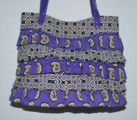 Vera Bradley Cha Cha Ruffled Simply Violet Purple Paisley Small Tote Purse