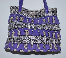 Vera Bradley Cha Cha Ruffled Simply Violet Purple Paisley Small Tote Purse
