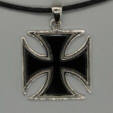 Iron Cross silver Pendant biker gothic celtic Schwartz Knights maltese german