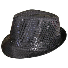 BLACK UNISEX SEQUIN FEDORA HAT TRILBY MJ FANCY DRESS HEN PARTY STAG DO GANGSTER