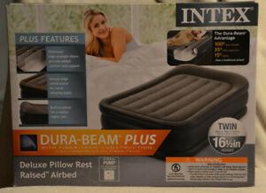 "Intex Dura-Beam Pillow Rest Airbed w/ Built In Pump, Twin 16.5"" AP619C NEW"