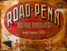"""TIN SIGN """"Road-Penn"""" Gas-Oil Games Signs  Rustic Wall Decor"""