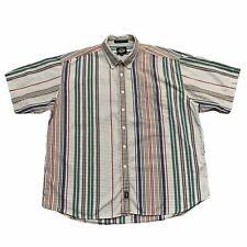 Vintage Dockers Plaid Multicolor Striped Short Sleeve Button Up Shirt Size XL