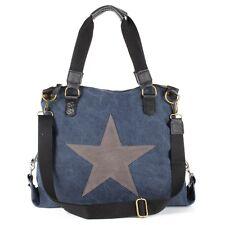 Große Leder Hand Schulter Tasche Canvas Jeans Stoff Shopper Star Stern Blau NEU
