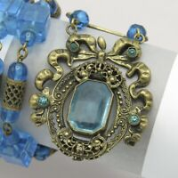 Vintage 1920s Art Deco Czech Peacock Blue Glass Bead Flapper Pendant Necklace