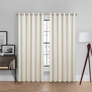 Brookstone Curtains, 100% Polyester, Total Blackout Eyelet in Ivory, 228x228