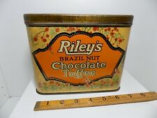 More details for riley's halifax 4lb brazil nut chocolate toffee shop advertising tin c1920s