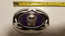 Men Women Metal Fashion Belt Buckle Skull Purple & Black Oval