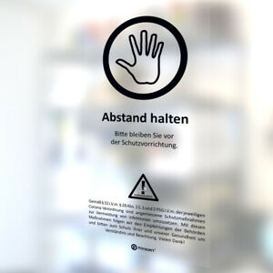 Schutz-Wand Aufkleber ABSTAND HALTEN Corona-Hinweis für Schutz-Scheibe Kasse M2