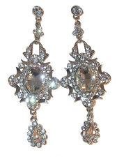 "Rhinestone CRYSTAL Silver 3.75"" Chandelier Earrings CLEAR Prom Formal Pageant"
