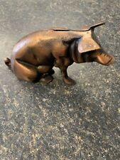 Vintage Cast Iron Pig Still Bank 1940s Bronzed Chicago Stockyards Souvenir
