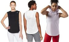 Reebok Womens Workout Ready Sleeveless Hoodie, Black / White / Purple, Pick Size