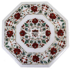 12'' Marble Restaurant Top Table Marquetry Inlaid Carnelian Floral Arts Decor