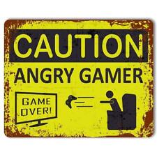 Caution ANGRY GAMER funny quote Bedroom kids Metal Aluminium Vintage poster SIGN