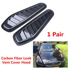 2x Carbon Fiber Look Car Decorative Air Flow Intake Scoop Turbo Bonnet Hood Vent