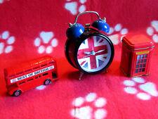 Réveil Drapeau anglais / Union Jack + Bus à impériale + Cabine téléphonique