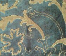 DESIGNERS GUILD Fontage Racine Gold Teal Velvet Floral Remnant New