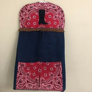 Cowgirl Hanging Baby Diaper Holder Denim Boot Fringe Western Red Scarf Stacker