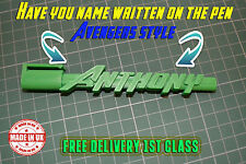 Personalised Named Pen 3D Action Hero Style Kids Man Woman Birthday Xmas Gift