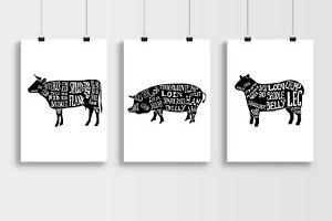 Butchers Meat Cuts Diagrams Posters - Lamb , Cow , Pig - A3 A4 Black Poster