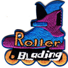 """ROLLER BLADING"" w/SKATE- Iron On Embroidered Patch - Skates, Sports, Words"