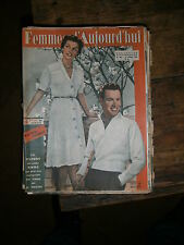 Femmes d'aujourd'hui N° 364 1952 Mode vintage  patrons Couture Broderie Robe