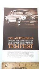 1961 PONTIAC -Tempest -Original Part Color Acc Folder - Excellent Condition - US