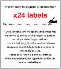 24x DANGEROUS GOODS DECLARATION Labels (for Australia Post parcel) 72mm x 63.5mm