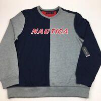 NEW Men's Nautica Spellout Sweatshirt Colorblock Blue Gray XL