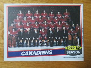 1979-80 MONTREAL CANADIENS Topps Insert Team 7 In. x 5 In. Poster GUY LAFLEUR