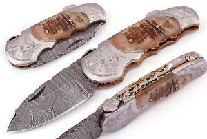 CUSTOM MADE DAMASCUS BLADE FOLDING / POCKET KNIFE DP-5060ENG-R